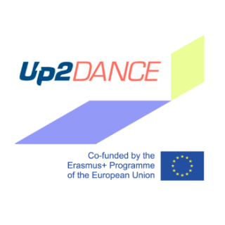 image presents up2dance project graphic sign and the Erasmus plus graphic sign